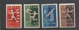 Lituanie  Lietuva YT  365A/C Neufs* Olympiades 1938 Tir Arc Javelot Plongeon Relais