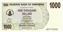 ZIMBABWE 1000 DOLLARS 2006 P-44 UNC NICE S/N AN7772222.  [ZW135a] - Simbabwe