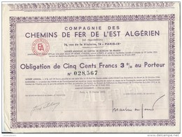 Obligation De 500 Francs 3% Au Porteur/Cie Des Chemins De Fer  De L'Est Algérien/Paris /Algérie/1950   ACT96bis - Afrique