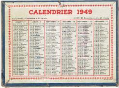 CALENDRIER CARTONNE 1949 IMPRIMEUR OLLER A PUTEAUX - Petit Format : 1941-60