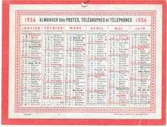 CALENDRIER CARTONNE 1954 IMPRIMEUR OBERTHUR - Petit Format : 1941-60