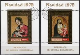 Christmas 1972 Äquatorial Guinea Block 44+47 O 8€ Gemälde Madonna Blocs Ms Gold Art Sheets Bf Ecuator.Africa Ss