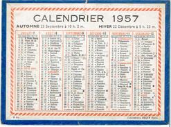 CALENDRIER CARTONNE 1957 IMPRIMEUR OLLER - Tamaño Pequeño : 1941-60