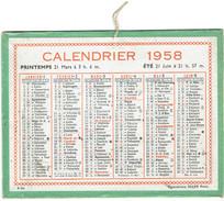 CALENDRIER CARTONNE 1958 IMPRIMEUR OLLER - Tamaño Pequeño : 1941-60