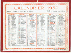 CALENDRIER CARTONNE 1959 IMPRIMEUR OLLER - Tamaño Pequeño : 1941-60