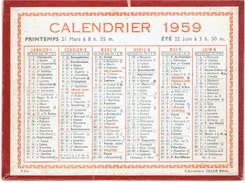 CALENDRIER CARTONNE 1959 IMPRIMEUR OLLER - Calendriers