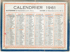 CALENDRIER CARTONNE 1961 IMPRIMEUR OLLER - Petit Format : 1961-70