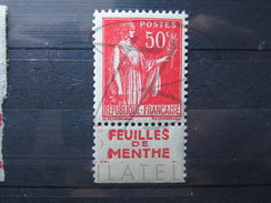 """BEAU TIMBRE DE FRANCE N° 283g , BANDE PUB """" FEUILLE DE MENTHE """" , XX !!! - Publicités"""