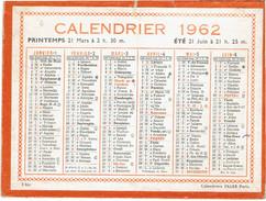 CALENDRIER CARTONNE 1962 IMPRIMEUR OLLER - Tamaño Pequeño : 1961-70