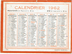 CALENDRIER CARTONNE 1962 IMPRIMEUR OLLER - Petit Format : 1961-70