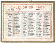 CALENDRIER CARTONNE 1963 IMPRIMEUR OLLER - Petit Format : 1961-70