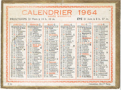 CALENDRIER CARTONNE 1964 IMPRIMEUR OLLER - Petit Format : 1961-70