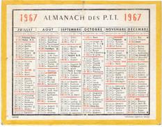 CALENDRIER CARTONNE 1967 IMPRIMEUR OBERTHUR - Calendriers