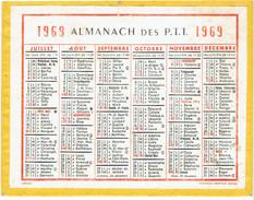 CALENDRIER CARTONNE 1969 IMPRIMEUR OBERTHUR - Calendriers