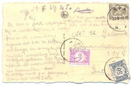 Zichtkaart Vanuit Spa (20 Juni 1947) Naar Gent Getaxeerd 2,50 Fr Taxe N° 47 En Taxe N° 39 - Taxes