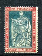 MIC 1928 Emanuele Filiberto 25 Cent Dent. 13 3/4 Sassone Nr. 231 Nuovo MNH** - 1900-44 Victor Emmanuel III