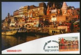 India 2016 Varanasi Holy City River Gagnga Hindu Mythology Temple Max Card # 8234 - Hinduism