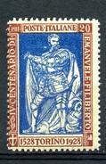 MIC 1928 Emanuele Filiberto 20 Cent Dent. 13 3/4  - Sassone Nr. 230 Nuovo MNH** - 1900-44 Victor Emmanuel III.