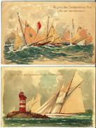 2 Cp Aquarelle Régates Bateaux à Kiel (2 Scans) Ed. Cacao Magdeburg Germania Am Leuchtturm - Reggata Der Sonderklasse Ki - Kiel