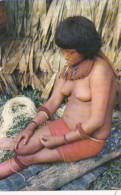 Colombia Amazonas India Yagua Tejendo Cabuya Native Yagua Indian Woman Nude Topless - Colombia
