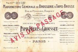 """Avis De Passage """"Manufacture Générale De Brosserie & Tapis-Brosse - Papin Frères & Grousset, 111 Bld Beaumarchai - Publicités"""