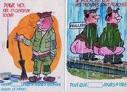Humour Serie Militaires Lot De 2 Cartes Pour Moi & Le Moral Est Bon - Humor