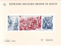 SOVRANO MILITARE ORDINE DI MALTA  1968  NATALE FOGLIETTO - Malte (Ordre De)