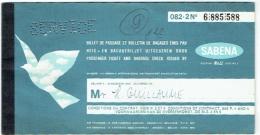 Ticket/Billet D'Avion (Service). SABENA. Warsaw/Brussels/Warsaw. 1970 - Europe