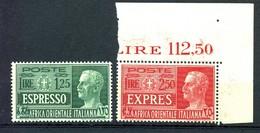 MIC 1938 AOI Africa Orientale Italiana Espressi 2 Valori - Sassone Nn. E1/E2 MNH** - Afrique Orientale Italienne