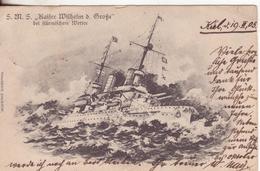 """112-Nave """"Re Guglielmo""""-v. 1905 Da Kiel X Siracusa-Sicilia-Francobollo Da 10p. - Barche"""