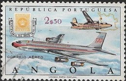 ANGOLA 1970 Stamp Centenary - 2e.50 - Fokker F.27 Friendship And Boeing 707 Mail Planes And 10r. Stamp Of 1870 (air)  FU - Angola