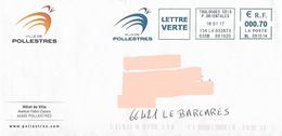 EMA ML 091514 Pyrénées Orientales + Flamme Ville De Pollestres Sur Env De La Mairie - Marcofilia (sobres)