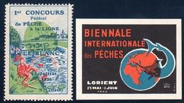 La PECHE - Concours 1936 - Lorient 1962 - Commemorative Labels
