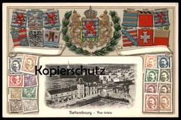 ALTE PRÄGE POSTKARTE BETTEMBOURG VUE TOTALE Wappen Wiltz Mersch Relief Luxembourg Stamps Cpa AK Ansichtskarte Postcard - Bettembourg