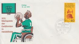 Enveloppe  FDC   1er  Jour   ALLEMAGNE   XXIéme  Concours  Mondial  Des   Paralytiques   HEIDELBERG   1972 - Handisport