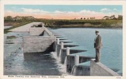 Nebraska Columbus Water Flowing Over Reservoir Weir Curteich - Columbus