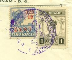 Suriname - 1929 -  Mooie Frankering Op 1e Luchtpostverzending, Stempel Van De Postdirecteur Naar New York - Front Only - Suriname ... - 1975