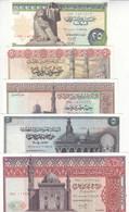 EGYPT 25 50 PT 1 5 10 EGP 1971 1978 P-42 43 44 45 46 47 UNC SET 6 NOTES LOT - Egypt