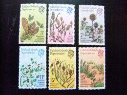 MALVINAS FALKLAND ISLANDS DEPENDENCIES 1981 FLORE PLANTES ANTARTIQUES Yvert N º 92 / 97 ** MNH  Taches De Rouille - Falkland Islands