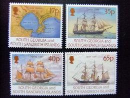 SOUTH GEORGIA - SOUTH SANDWICH ISLANDS 1994 CARTE Et VOILIERS Yvert N º 255 / 258 ** MNH - Georgias Del Sur (Islas)
