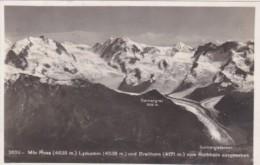 Switzerland Mt Rosa Lyskamm Und Breithorn Vom Rothorn Ausgesehen 1923 Real Photo - VS Valais