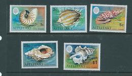 Aitutaki 1974 Shell Definitives 5 Values To $1 MNH - Aitutaki