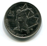 2009 Canada Vancouver Winter Olympics 2010 Commemorative 25c Coin - Canada