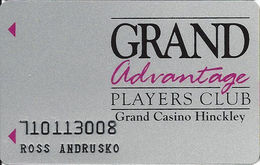 Grand Casino Hinckley MN - Slot Card With No Mfg Mark On Reverse - 11 Lines Of Text - Casino Cards