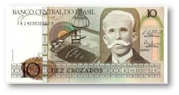 BRASIL - 10 CRUZADOS - ND ( 1987 ) - P 209.b - UNC. - Serie 1403 - Sign. 25 - Rui Barbosa - Brésil