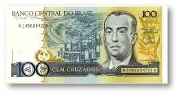 BRASIL - 100 CRUZADOS - ND ( 1987 ) - P 211.b - UNC. - Serie 1486 - Sign. 24 - Juscelino Kubitschek - Brasil