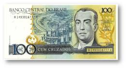 BRASIL - 100 CRUZADOS - ND ( 1987 ) - P 211.b - UNC. - Serie 1493 - Sign. 24 - Juscelino Kubitschek - Brasil