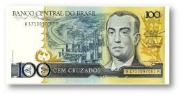 BRASIL - 100 CRUZADOS - ND ( 1987 ) - P 211.c - UNC. - Serie 1713 - Sign. 25 - Juscelino Kubitschek - Brazil