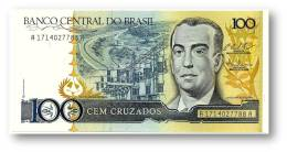 BRASIL - 100 CRUZADOS - ND ( 1987 ) - P 211.c - UNC. - Serie 1714 - Sign. 25 - Juscelino Kubitschek - Brésil