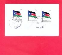 SOUTH SUDAN - Cover With 3x 1 SSP National Flag (1st Set) - #208 Südsudan Soudan Du Sud - Südsudan